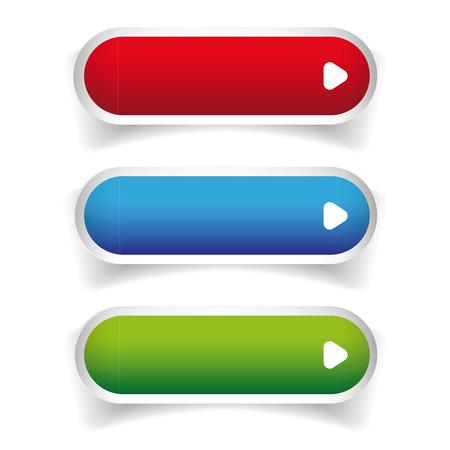 gree: Empty web buttons vector - gree, blue, red