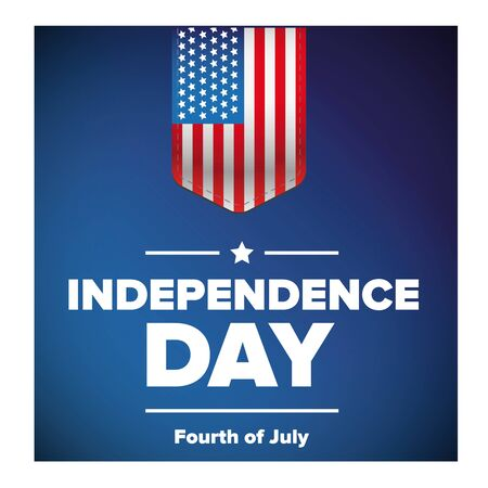 Independence Day with USA flag vector