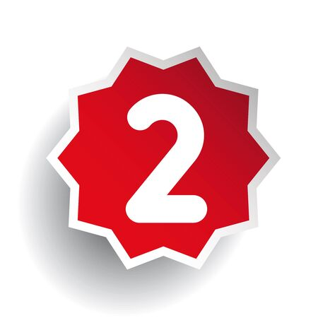 Number two 2 star red