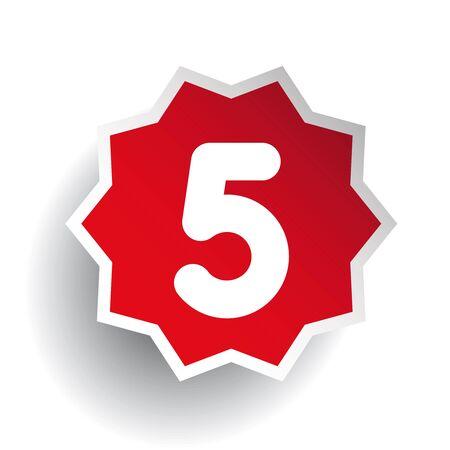 five star: Number five 5 star red Illustration