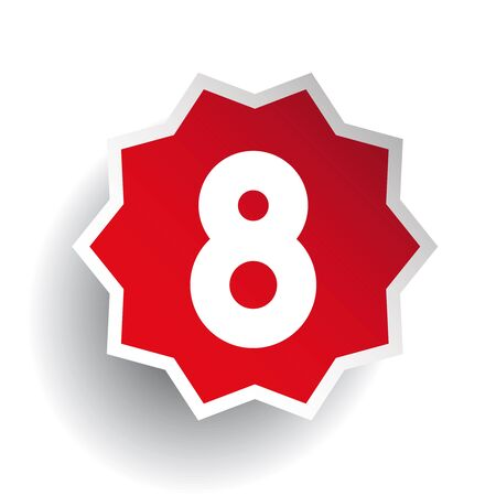 eight: Number eight 8 star red
