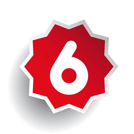 number six: Number six 6 star red Illustration