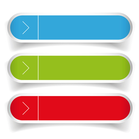 satined: Empty web buttons vector - green, blue, red Illustration