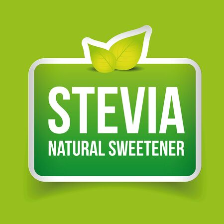 substitute: Stevia - Natural Sweetener label vector Illustration