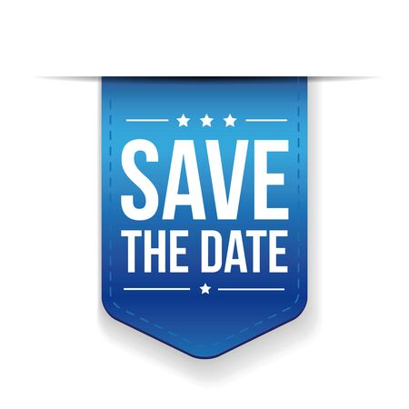 monumental: Save the date blue ribbon