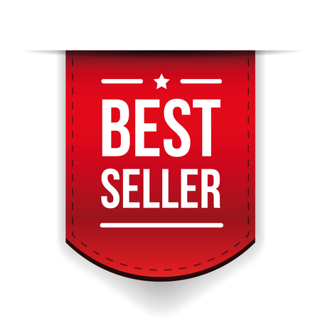 seller: Best Seller red ribbon vector Illustration