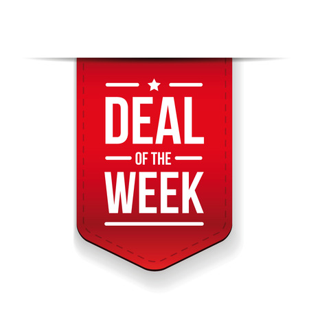 week: Deal of the week Red ribbon vector Illustration