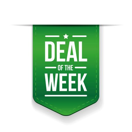 selling off: Deal of the week Green ribbon vector Illustration