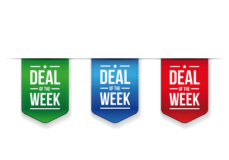 Deal of the week ribbon set vector