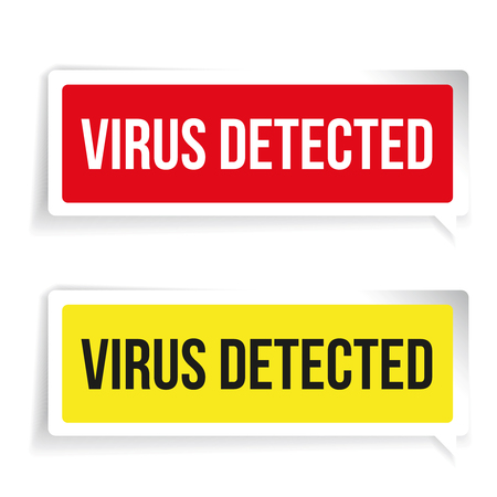 detected: Caution Virus Detected. Security concept sign Illustration