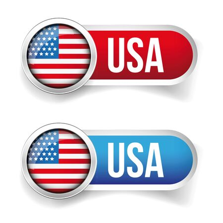 us independance: USA flag button vector Illustration