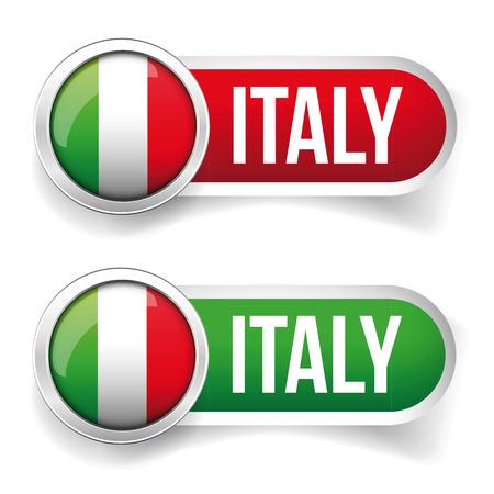 flag button: Italy Flag button vector Illustration