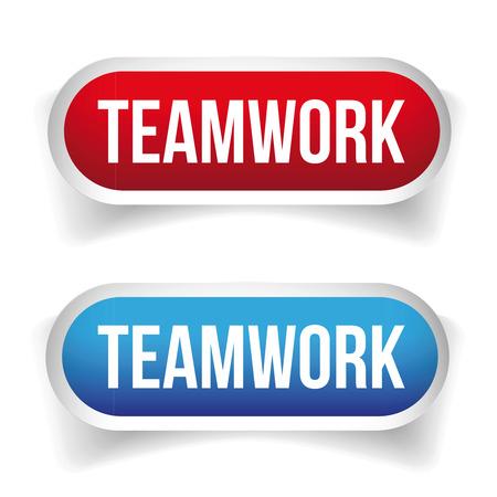 teamwork: Teamwork button vector