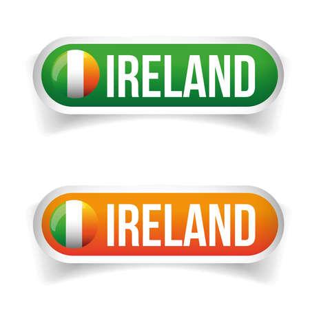 irish pride: Ireland flag button vector Illustration
