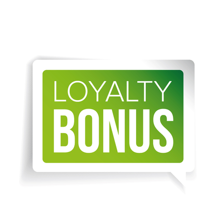 Loyalty bonus sticker green speech bubble royalty free cliparts vectors and stock illustration image 59991564