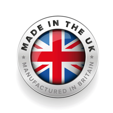 Made in the UK. Manufactured in Britain Ilustracja