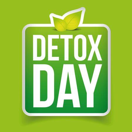 detox: Detox Day button green vector Illustration