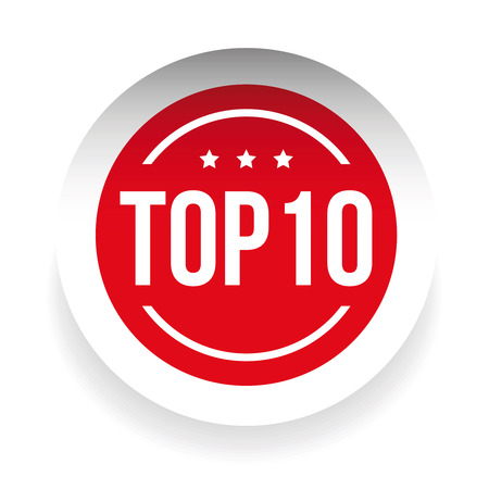 Top 10 label red vector