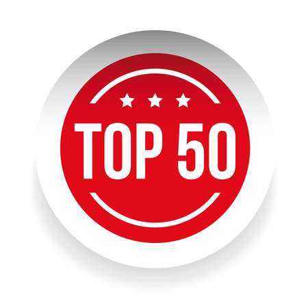 50: Top 50 label red vector
