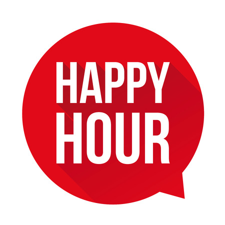 Happy Hour sign speech bubble Ilustrace