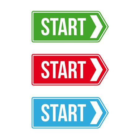 directing: Start Road sign vector set Illustration