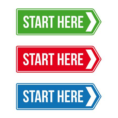 Start Here Road sign vector set Illustration