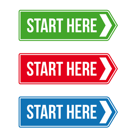 Start Here Road sign vector set Иллюстрация