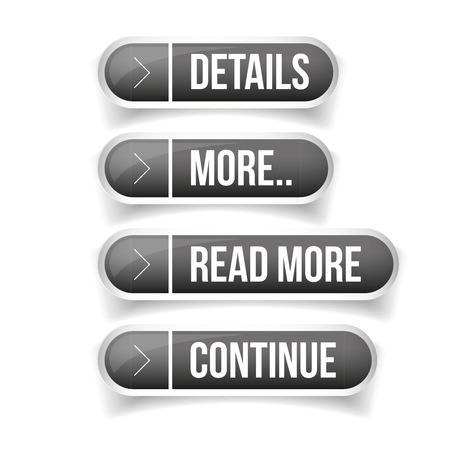 Aufruf zum Handeln Button-Set - Details, Mehr, Mehr, Weiter