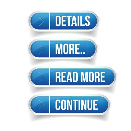 Call to action button set - Details, More, Read more, Continue Banco de Imagens - 59994316
