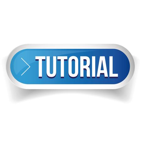 tutorial: Tutorial button vector blue Illustration