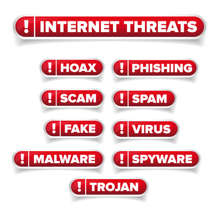 hoax: Internet threats button set  - Hoax, Spam etc