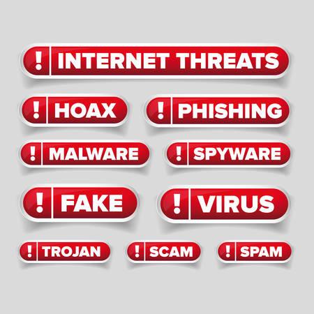 threats: Internet threats button set  - Hoax, Spam etc