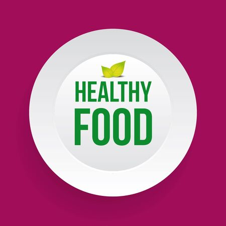 food plate: Healthy Food sign on plate vector