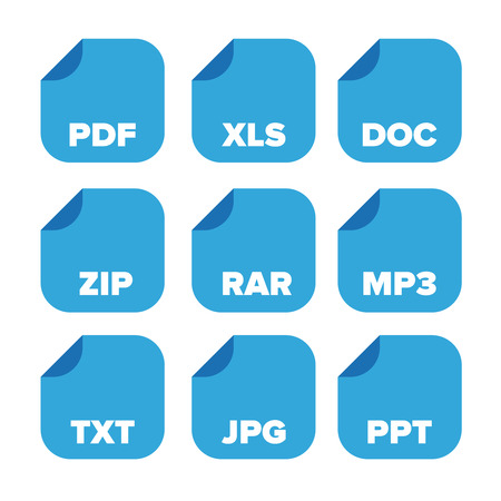 file extensions icons set: pdf, xls, doc, zip, rar, mp3, txt, jpg, ppt