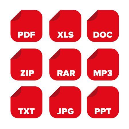 doc: file extensions icons set: pdf, xls, doc, zip, rar, mp3, txt, jpg, ppt