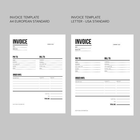 Vector Minimalistischem Rechnungsvorlage Design Für Ihr Unternehmen