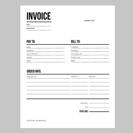 Invoice  business template - Letter USA standard paper