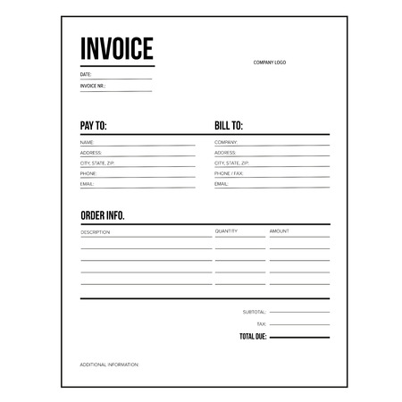 Invoice / business template - Letter USA standard paper Ilustrace