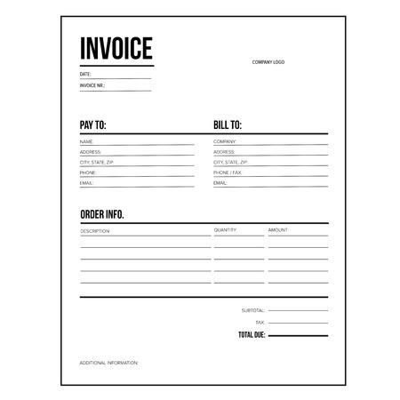 Rechnung / Business-Template - Buchstabe USA Standardpapier Standard-Bild - 60473469