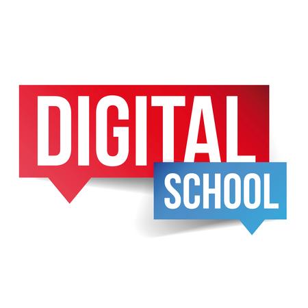 digital school: Digital School label vector Illustration