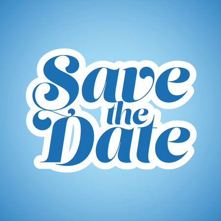 Save the Date lettering blue vector Illustration