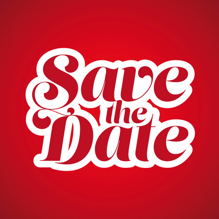 Save the Date lettering red Illustration