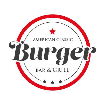 ハンバーガー バーとグリルのヴィンテージの刻印ロゴ  イラスト・ベクター素材