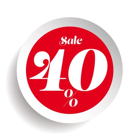 40% off sale promotion flat badge Illustration