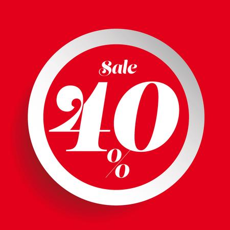cut up: 40% off sale promotion flat badge Illustration