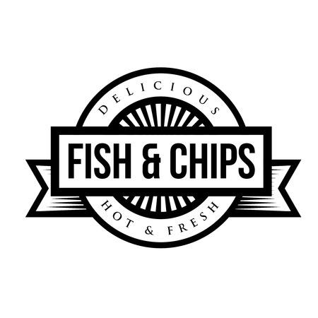 Fish and Chips vintage stamp Banco de Imagens - 60473733