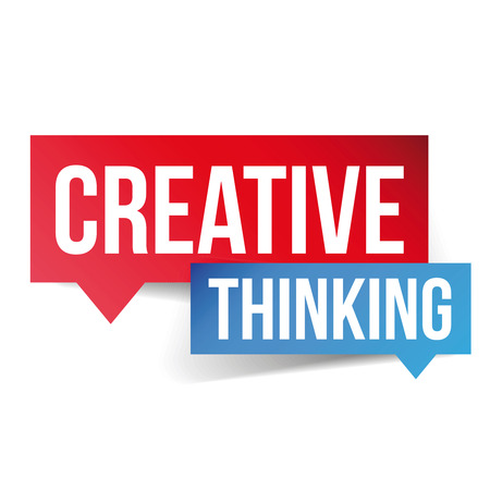 co workers: Creative Thinking lettering speech bubble Illustration