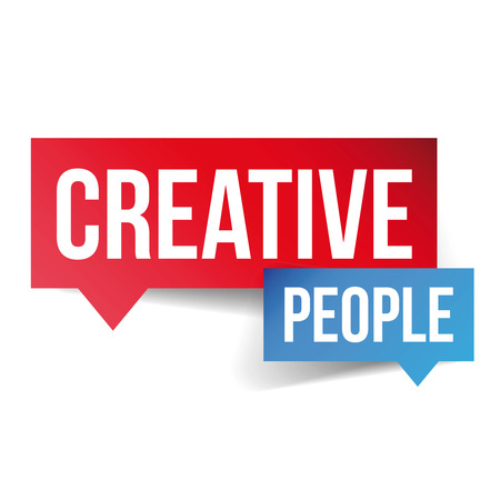 co workers: Creative People lettering speech bubble