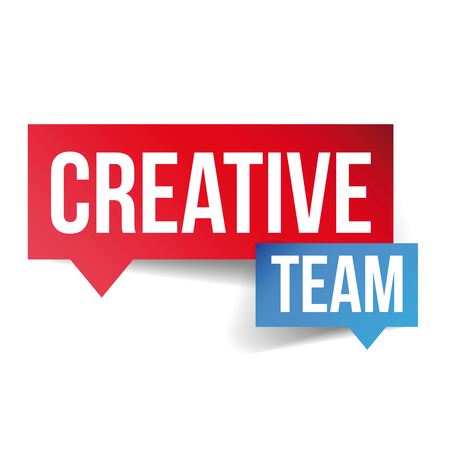 co workers: Creative Team lettering speech bubble Illustration