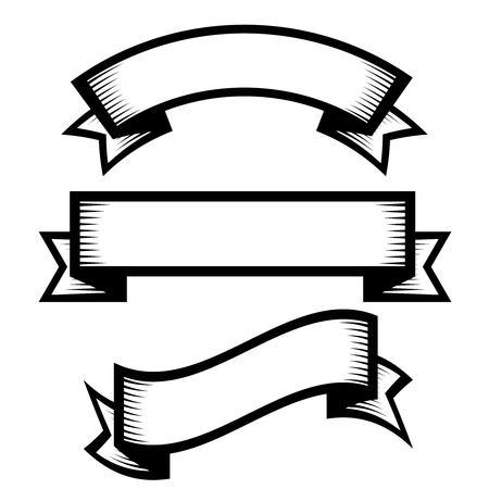 Retro vintage engraving style ribbon vector set Çizim